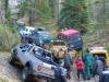 Yleiskuva suunnistus- ja ajoharjoituksista, kuvassa osa autoista vuodelta 2005.